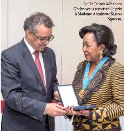Lutte Contre la drépanocytose L'OMS élève Antoinette Sassou Nguesso aurangde''Héroïne de la Santé Publique''